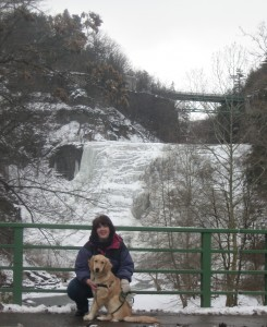 Golden Retriever Dog and Woman in front of Ithaca Falls