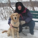 Pam and Honey the golden retriever.