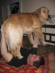 Mike is bench pressing Honey the Golden Retriever.