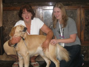 Honey the Golden Retriever, Pamela Douglas Webster, and Pup Fan