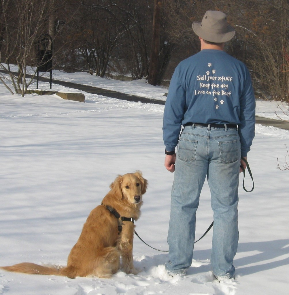 Honey the Golden Retriever and her person Mike