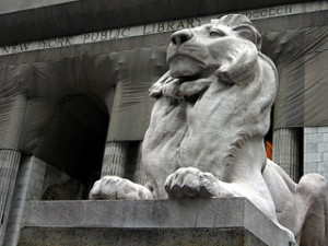 Stone Lion in Front of New York Public Library