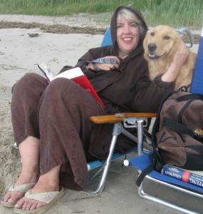 Woman and dog on the Beach