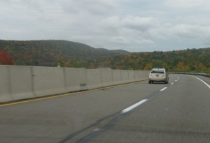 Autumn leaves on the highway