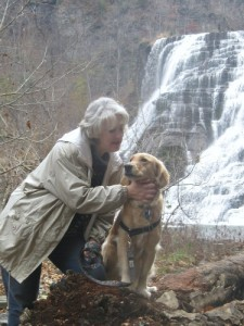 Honey the Golden Retriever and Pamela Douglas Webster at Ithaca Falls