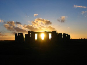 Stonehenge at sunset, near the solstice.