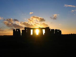 Stonehenge at sunset, near the solstice.