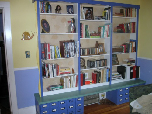 Bookshelf in Pam's house.