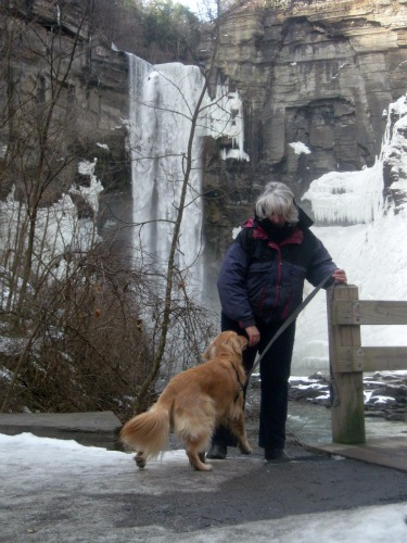 Posing with Honey the Golden Retriever at Taughannock Falls.