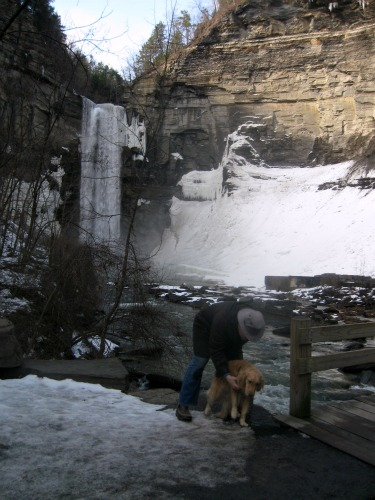 Posing Honey at the Taughannock Falls.