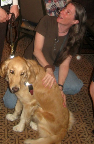 Honey the Golden Retriever meets Leslie Olyott of Bringing Up Bella.