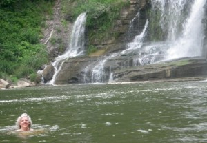 Pamela swims at the base of Ithaca Falls.