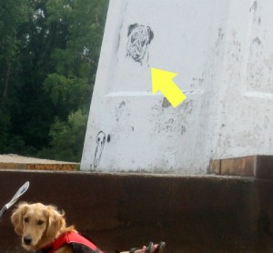 Pug graffiti on Cayuga Lake lighthouse.