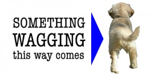 Walk This Way is a sample logo for Something Wagging This Way Comes featuring Honey as a puppy.