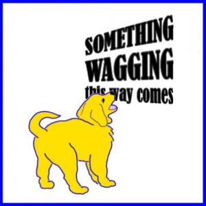 This logo sample for Something Wagging features a cartoon version of a Glolden Retriever puppy barking at the blog name.