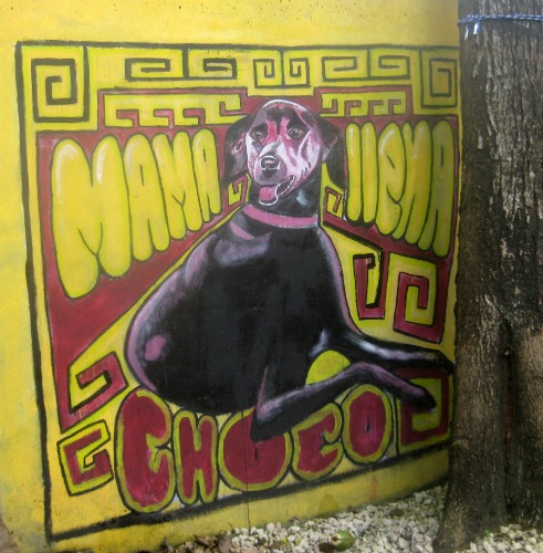 Mural of dog at Mamallena hostel.