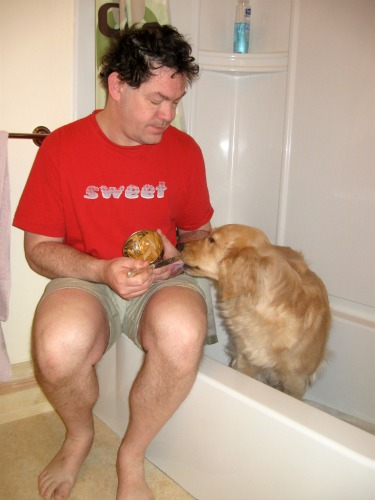 Honey the Golden Retriever sits in the tub as my rival.