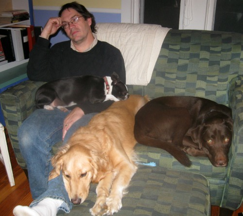 Mike sits on the couch with a golden retriever, chocolate lab, and Boston terrier.