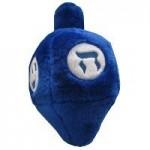 Plush dreidel dog toy for hanukkah.