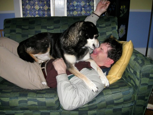 """Mike is """"dominated"""" by his dog."""