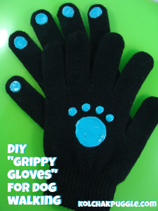 DIY Grippy Dog Walking Gloves by Kol's Notes.