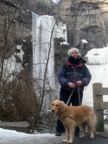 Honey & Pam walking at Taughannock falls in winter.