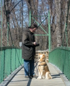 Mike and Honey on the swinging bridge.