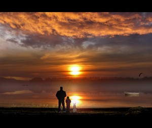 Fisherman with friends at sunset.