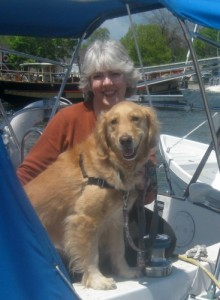 Honey the golden retriever enjoys sailing.