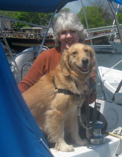 Golden retriever on a sail boat.
