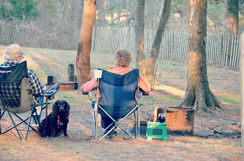 Dog and campers.