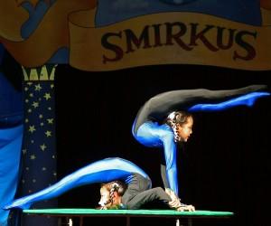 A pair of Mongolian circus acrobats.