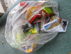 Halloween candy trash.
