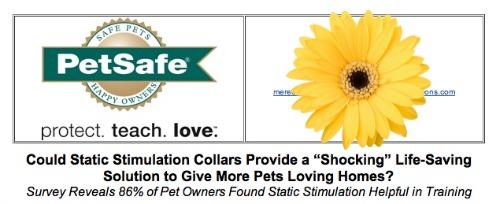 PetSafe shock collar press release screen shot.