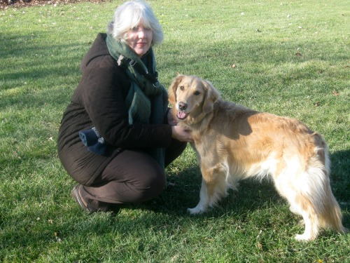 Honey the golden retriever with Pamela.