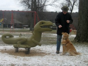 Honey the golden retriever makes friends with a playground dinosaur.