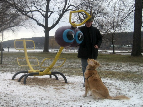 Honey the golden retriever and Mike setting up a picture on the playground.