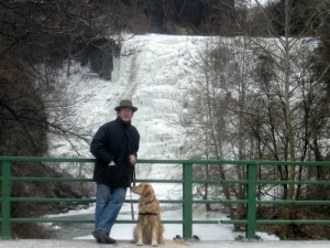 Honey the golden retriever looks at Mike in front of Ithaca Falls.