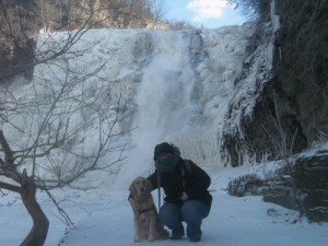Pam and Honey the golden retriever at Ithaca Falls.