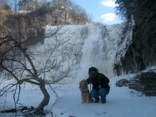Honey the golden retriever with Pam at Ithaca Falls.