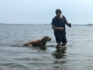 Honey the golden retriever in the water with Mike.