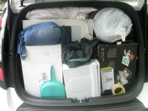 A look at the tightly packed car.