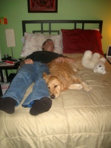 Honey the golden retriever naps with Mike.