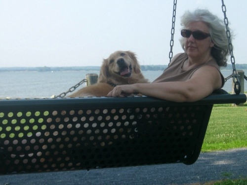 Honey the golden retriever sits on Pam's lap on a swing.