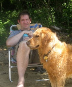 Honey the golden retriever asks why Mike doesn't swim.