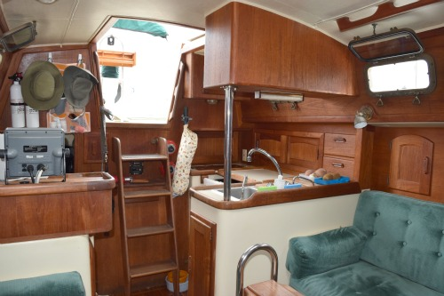 A few of the companionway ladder looking aft.