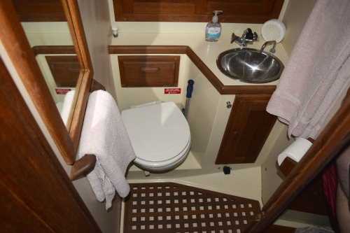The head or bathroom or a Pacific Seacraft 34.