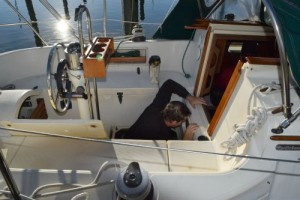 Mike working on Meander's engine.