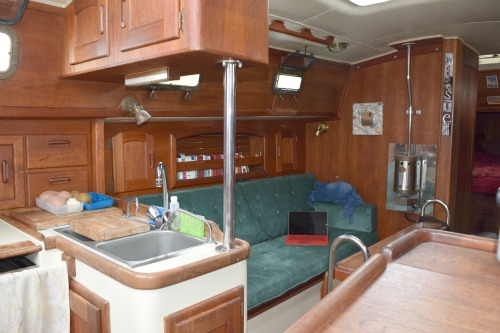 Port side of the salon in a Pacific Seacraft 34.