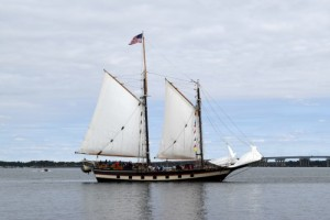 Schooner Mystic Whaler in the Choptank River.